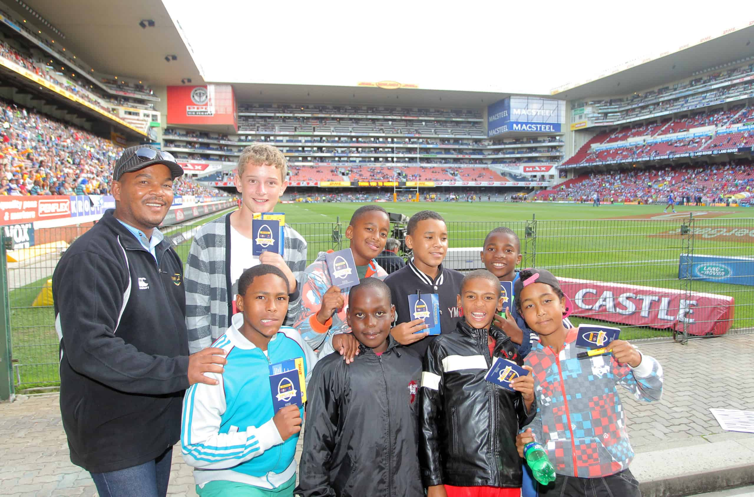Kids supporting the Stormers at the stadium
